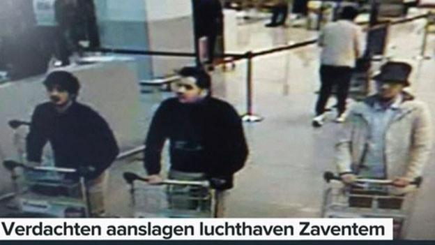 Das sollen die drei Attentäter von Brüssel sein.