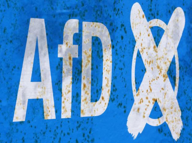 Leicht verwittertes AfD-Wahlplakat.