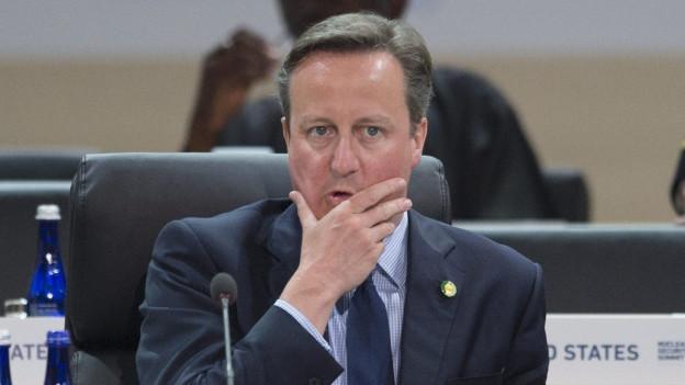 David Cameron an einem Sitzungstisch, er fasst sich mit der rechten Hand ans Kinn.