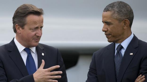 Obama und Cameron an einer Medienkonferenz