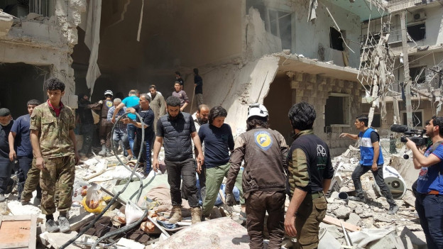 Zerstörung in jenem Viertel in Aleppo, in dem auch das bombardierte Spital stand.