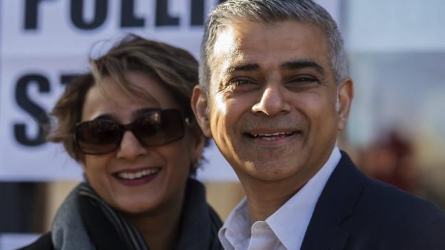 Sadiq Khan, der frisch gewählte Bürgermeister von London, mit seiner Frau Saadiya Khan.