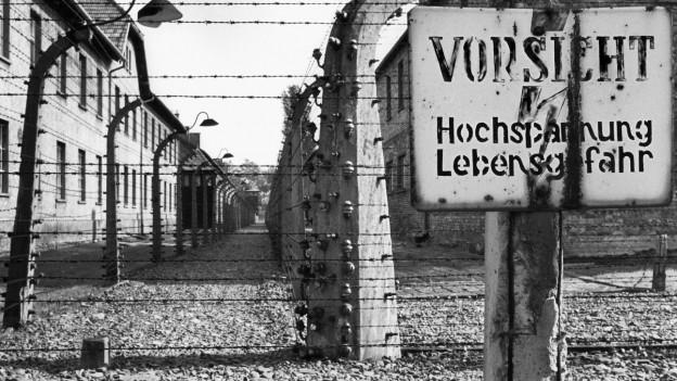 Stacheldrahtzäune und Baracken des Konzentrationslagers Auschwitz.
