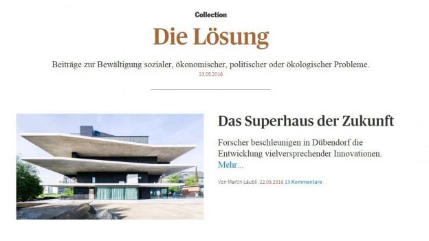 Eine Online-Sammlung von konstruktiven Artikeln aus dem Tages Anzeiger.