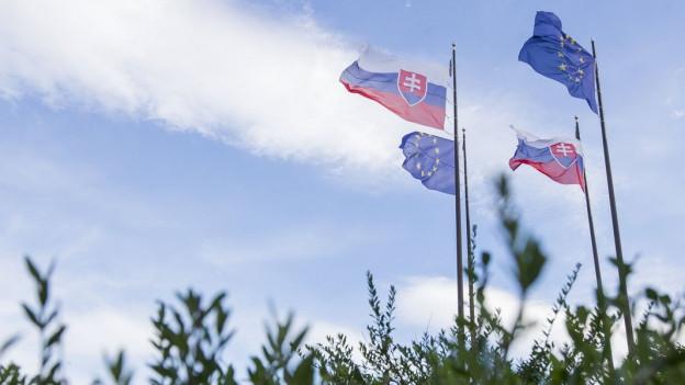 Slowakei- und EU-Flaggen wehen im Wind in der Nähe der Burg Bratislava in der Slowakei.