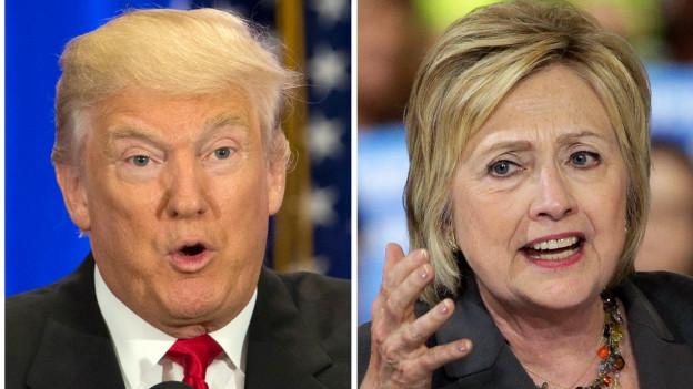 Portraits von Donald Trump und Hillary Clinton, nebeneinander montiert.