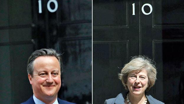 Der abtretende britische Premier David Cameron und die neue Premierministerin Theresa May – vor der Türe des Regierungssitzes an der Downing Street Nummer 10 in London.