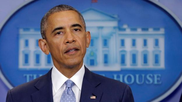 Obama vor den Medien.