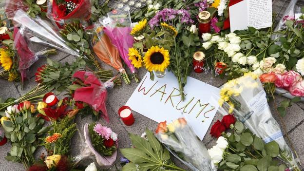 Blumen auf der Strasse, mitten drin ein Kartonschild mit der Aufschrift «Warum?»