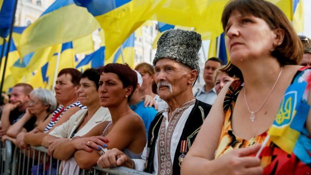 Ukrainerinnen und Ukrainer stehen hinter Abschrankungen und beobachten eine Parade.