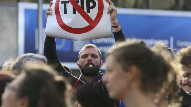 Ein TTIP-Gegner protestiert mit Trillerpfeife und Plakat.