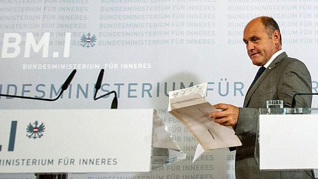 Der österreichische Innenminister Wolfgang Sobotka, am 12. September an der Medienkonferenz in Wien.