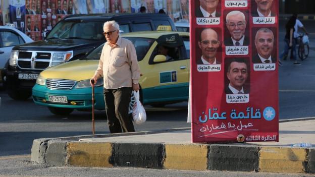 Wahlen in Jordanien: Zu sehen sind Plakate in der Hauptstadt Amman, die das Strassenbild zieren.