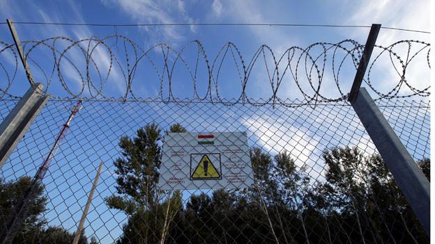 Stacheldraht an der serbisch-ungarischen Grenze. Warntafeln sollen Flüchtlinge vor dem illegalen Übertreten der Grenze abhalten: Denn die illegale Einwanderung gilt in Ungarn als Straftat.