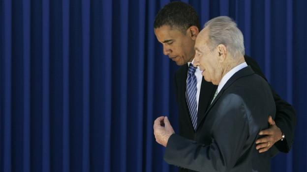US-Präsident Obama und der nun verstorbene Peres nebeneinander.