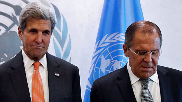 US-Aussenminister John Kerry und der russische Aussenminister Sergej Lawrow, am 23. September 2016 in New York.
