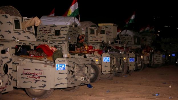 Zu sehen sind kurdische Peshmerga-Kräfte, die sich östlich von Mossul auf die Offensive gegen den IS vorbereiten.
