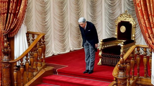 Zu sehen ist Kaiser Akihito bei der Eröffnung der neuen Session des japanischen Oberhauses (26.9.16).