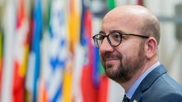 Portrait von Martin Schulz, im Hintergrund verschiedene Flaggen der EU-Mitgliedsländer.