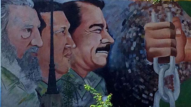 Wandbild Castro, Chávez und Ortega.