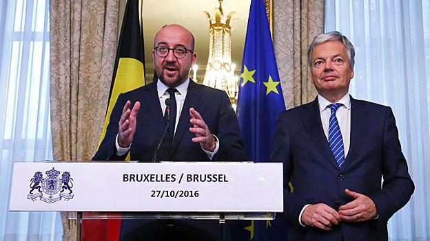 Belgiens Premier Charles Michel und Aussenminister Didier Reynders.