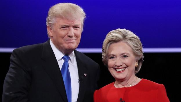 Hillary Clinton und Donald Trump anlässlich der ersten Fernsehdebatte