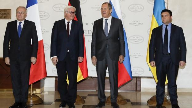 Die Aussenminister von Frankreich, Deutschland, Ukraine und Russland