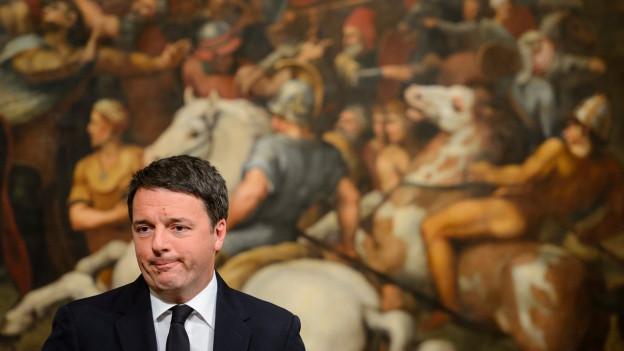 Der italienische Präsident Matteo Renzi gibt seinen Rücktritt bekannt