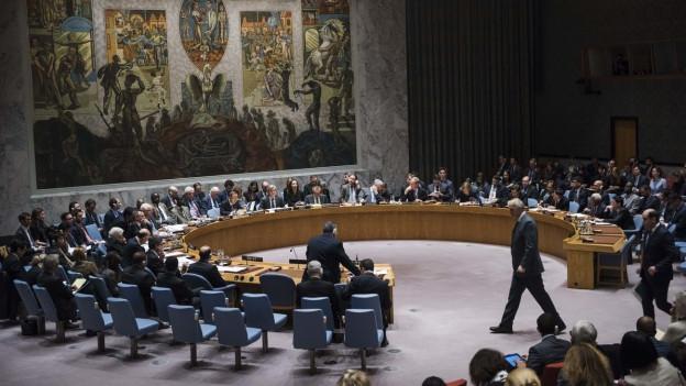 Der Uno-Sicherheitsrat tagt zu Syrien, Dutzende Räte sitzen an einem langen, hufeisenförmigen Tisch im Saal in New York, im Hintergrund an der Wand ein grosses Gemälde (13. Dezember 2016).