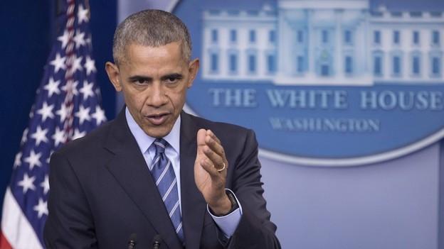 Barack Obama an einer Pressekonferenz.