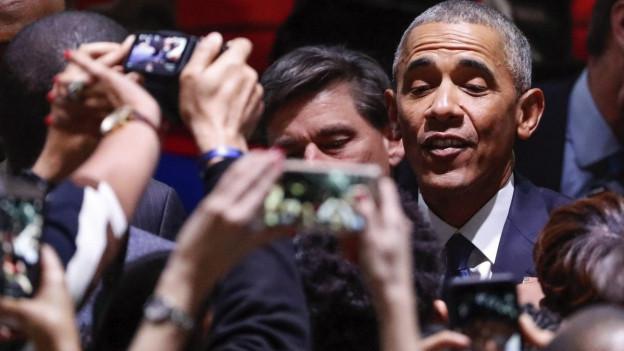 US-Präsident Barack Obama wird von Anhängern bejubelt.