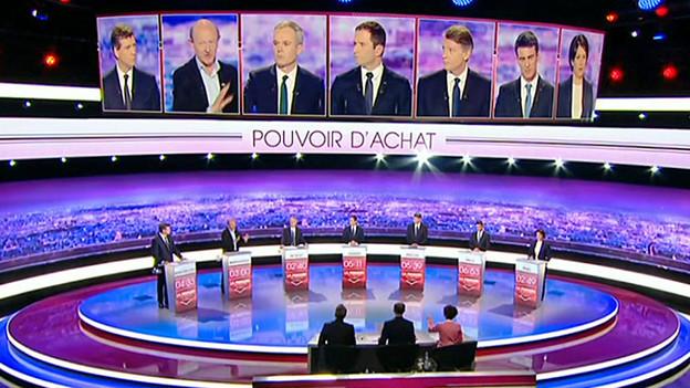 Blick auf die Kandidaten beim Duell.