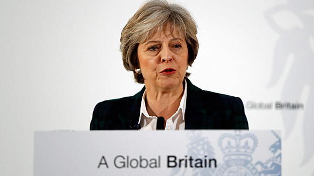 Theresa May während ihrer Rede zur Umsetzung des «Brexit»-Referendums.