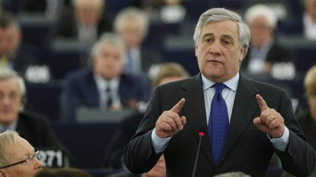 Antonio Tajani im EU-Parlament.