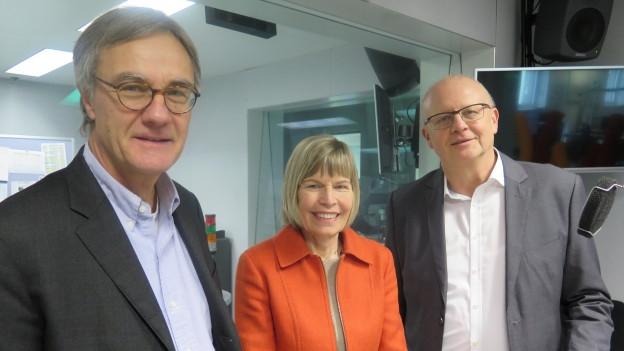 Peter Bertschi, Erika Forster, Hugo Schittenhelm (v.l.n.r.)