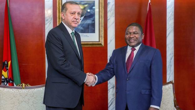 Der türkische Präsident Erdogan begrüsst Filipe Nyusi, Präsident von Mozambique.