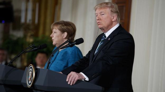 Merkel und Trump an der gemeinsamen Medienkonferenz