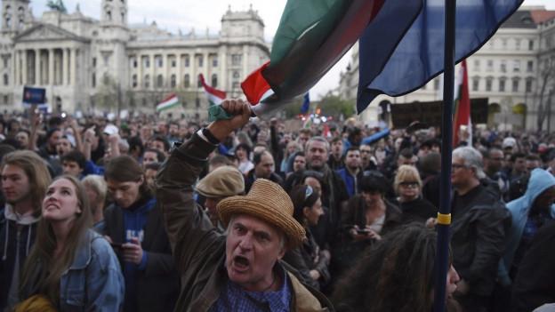 Zehntausende demonstrieren in Ungarn für die westlich orientierte Universität.