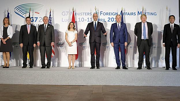 Gruppenbild der G7-Aussenminister plus EU-Aussenbeauftragte Federica Mogherini.