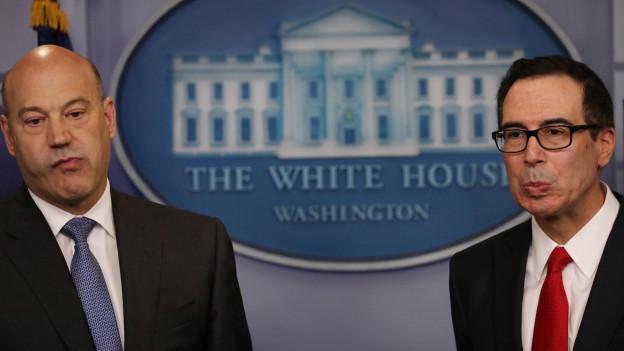 Stellten gestern Trumps-Steuerpläne vor: Finanzminister Steven Mnuchin (rechts) und Gary Cohn (links), Direktor des National Economic Councils.