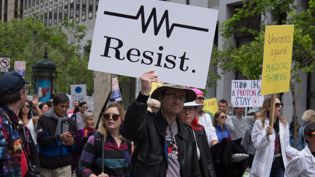 Widerstand gegen Trump in Form des Science March.
