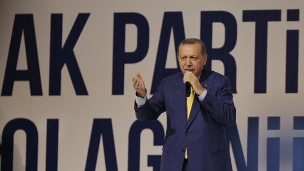 Erdogan am Parteitag der AKP in Ankara.