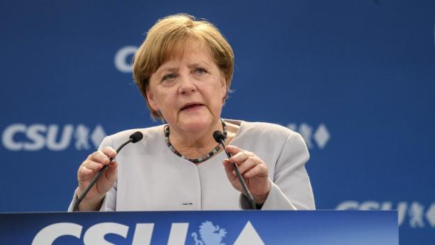 """""""Europa muss sein Schicksal in die eigenen Hände nehmen"""": Kanzlerin Angela Merkel an einem Wahlkampfauftritt in Münschen am 28. Mai 2017."""