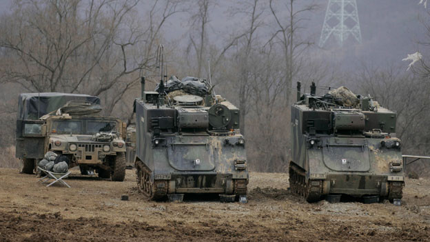 Soldaten aus den USA und Südkorea bei der gemeinsamen Militärübung in Südkorea im März 2016.