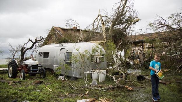 Zerstörte Bäume liegen am Boden, ein Wohnwagen steht vor einem Holzhaus und ein Junge steht davor.