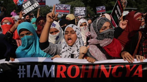 Indische Aktivisten protestieren für die Minderheit der Rohingyas.