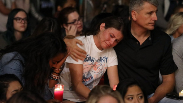 Eine Mahnwache für die Opfer der Schiesserei in Las Vegas.
