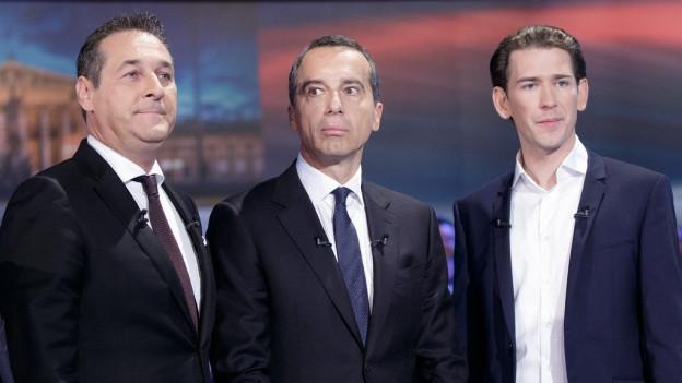 Von links: FPÖ-Chef Heinz-Christian Strache, Bundeskanzler Christian Kern (SPÖ) und ÖVP-Chef Sebastian Kurz.