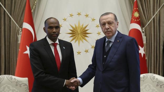 Handschlag des türkischen Präsidenten Recep Tayyip Erdogan mit dem somalischen Ministerpräsidenten Hassan Ali Kyre im Oktober 2017.