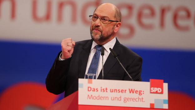 Parteipräsident Martin Schulz am SPD-Parteitag in Berlin am 7. Dezember 2017.